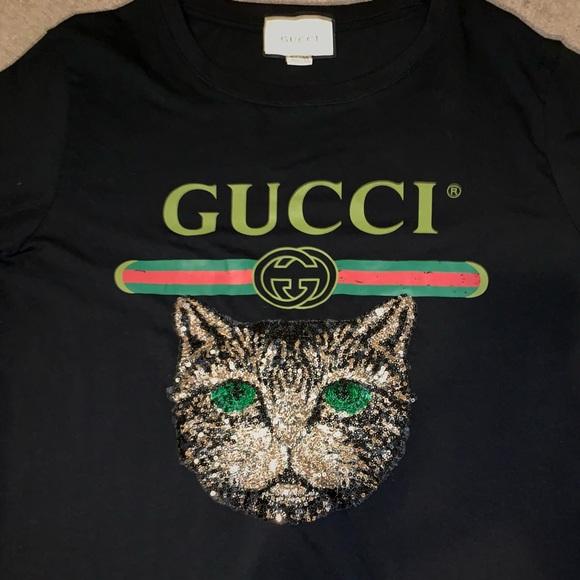 ebfb521f0 Gucci Tops | Sequin Cat Shirt Ss18 | Poshmark